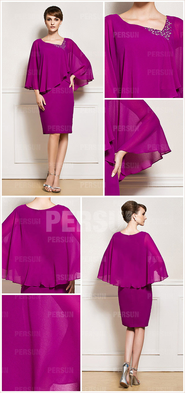 Fuchsia column v neck knee length chiffon mother of the bride dress details