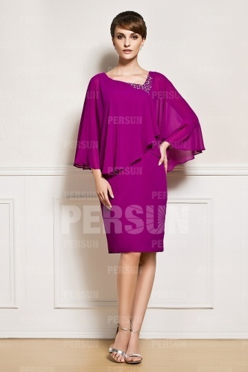 Fuchsie Etui-Linie Knielang Abendkleider aus Chiffon mit Ärmeln Persun