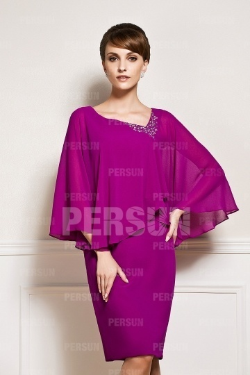 Dressesmall Knee length Chiffon Fuchsia Mother of the Bride Dress