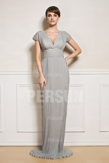 Dressesmall Pleated Sexy Cap Sleeves Split front Mother of the Bride Dress