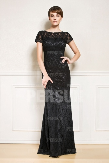 Dressesmall Sheath Mother of the Bride Dress in Black Lace with Cap Sleeve