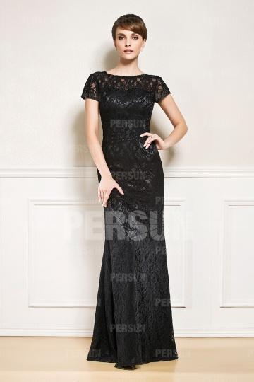 Schlichtes Etui-Linie schwarzes Bodenlanges Abendkleid aus Spitze Persun