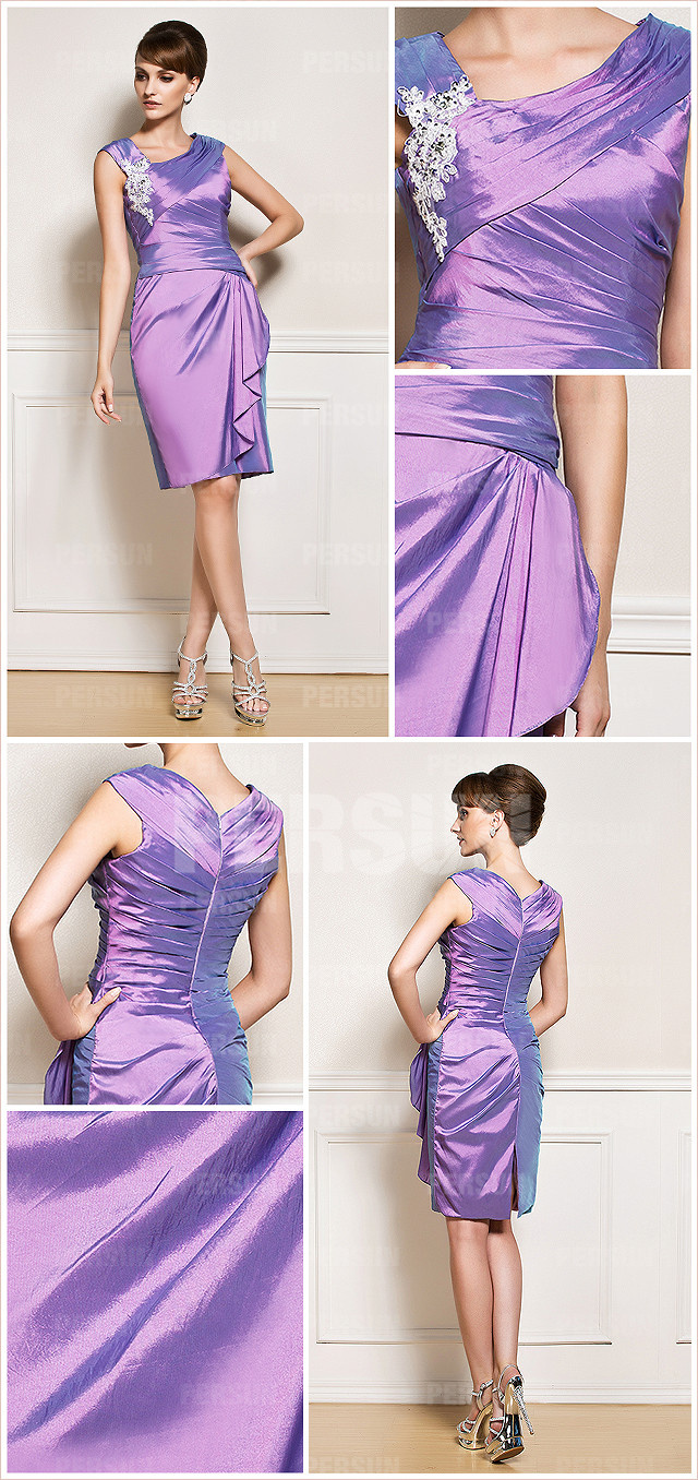 Column purple v neck taffeta appliques mother of the bride dress details