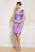 Short Taffeta Purple Ruffles Embroidery Mother of the Bride Dress