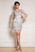 Short Beaded Tulle Long Sleeves Formal Dress