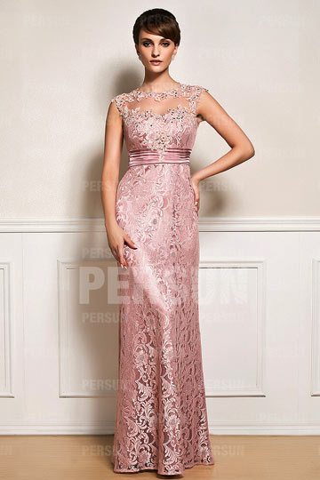 Dressesmall Pink tone Mother of the bride dress in Lace with illusion neckline