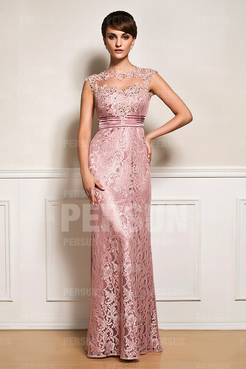 Robe cocktail rose dentelle