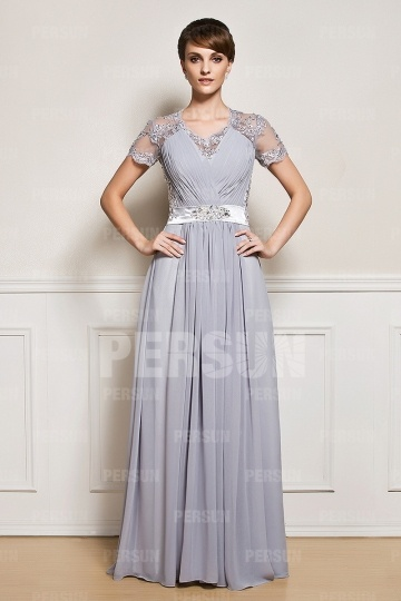 Dressesmall Floor length Short sleeves Chiffon mother of the bride dress