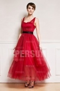 Ankle length Tulle Formal Evening Dress in Red tone with Black Sash