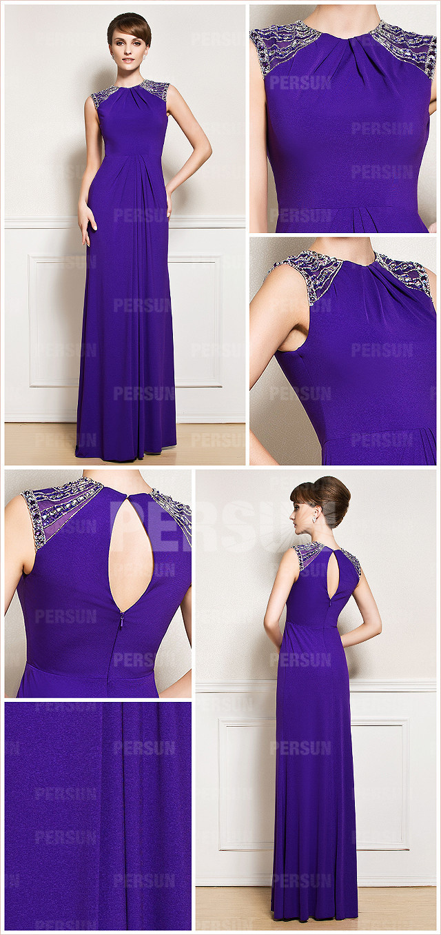 Purple Beaded Ruched Chiffon High Neck Long Formal Evening Dress front and back design
