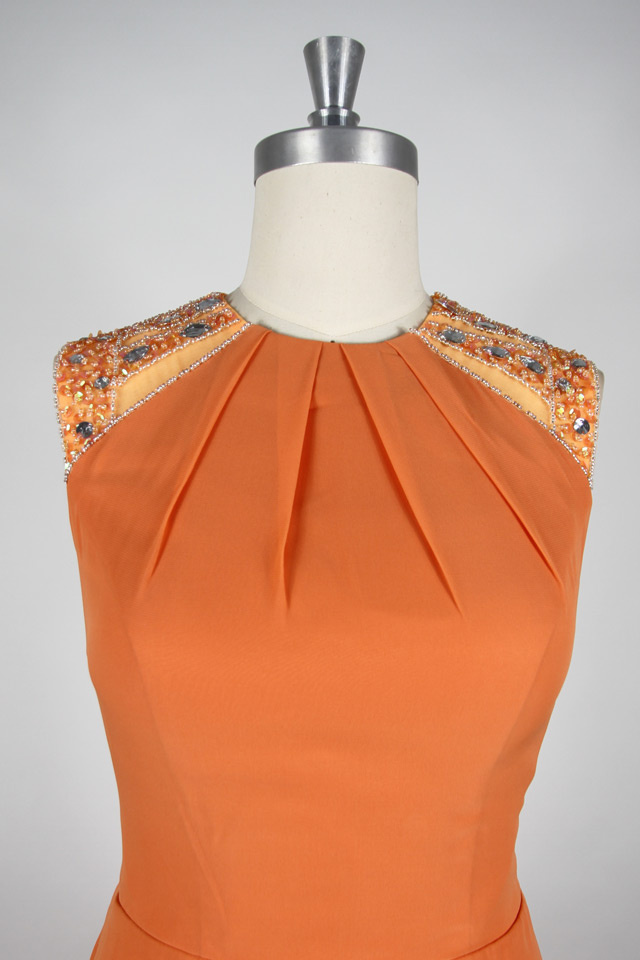 Orange Beaded Ruched Chiffon High Neck Long Formal Evening Dress neckline design