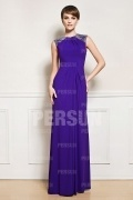 Beaded Ruched Chiffon High Neck Long Prom Dress