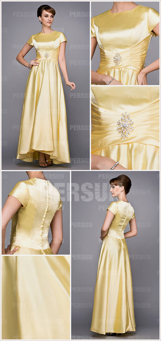 Yellow Cap Sleeves Beaded Ruched Satin Mother of the Bride Dress from Dressesmallau