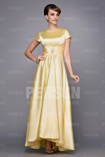 Dressesmall Cap Sleeves Beaded Ruched Satin Mother of the Bride Dress