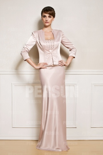 Dressesmall Elegant Beaded Satin Mother of the Bride Dress with Jacket
