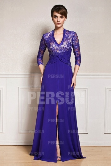 Dressesmall Split front V neck Mother of the bride Dress with 3/4 sleeve