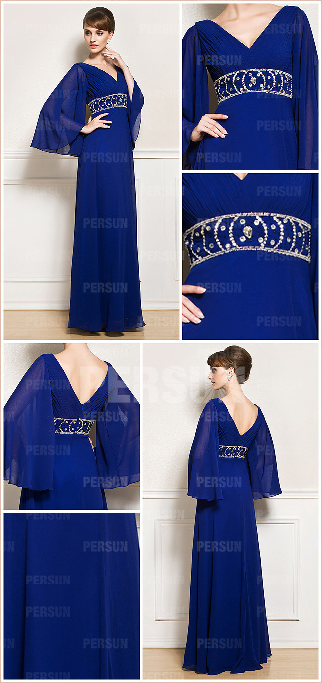 Blue Long Sleeves Beaded Chiffon Mother of the Bride Dress front and back design details