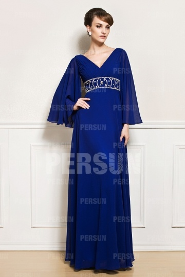 Dressesmall Long Sleeves Beaded Chiffon Mother of the Bride Dress
