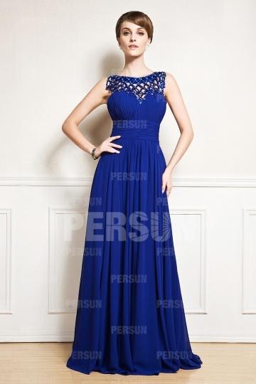 Elegantes Blaues Boot Ausschnitt A Linie Sequins Abendkleider aus Chiffon Persunshop