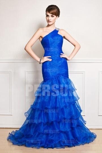 Sexy Meerjungfrau Ein Schulter langes Organza blaues Abendkleider Persun