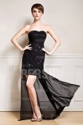Sexy Transparent Chiffon Strapless Beading Black Formal Dress