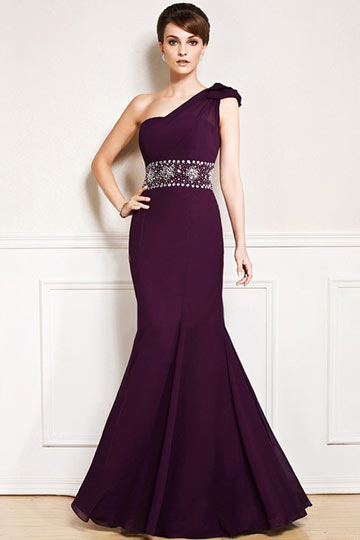 Dressesmall One shoulder Purple tone Floor length Formal Dress