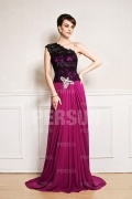 Color block Vintage Court train Top Black Lace Formal Evening dress
