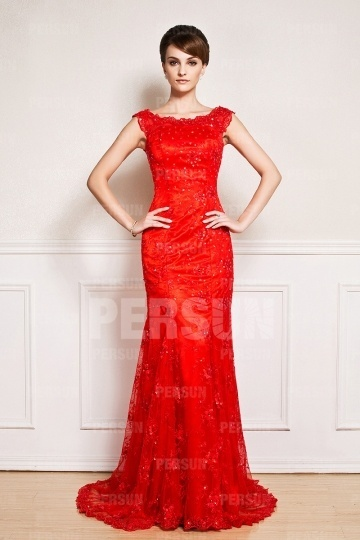 Dressesmall Red lace Embroidery Court train formal Evening gown