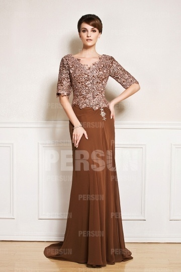 Dressesmall Half sleeve V neck mother of the bride dress with lace top