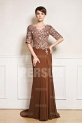 Half sleeve V neck mother of the bride dress with lace top