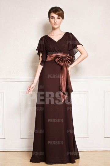Dressesmall V neck Ruffle Sleeves Sash Chiffon Mother of the Bride Dress