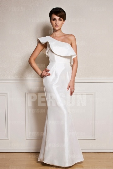 Dressesmall One shoulder Chic Mermaid White Formal Dress in Taffeta
