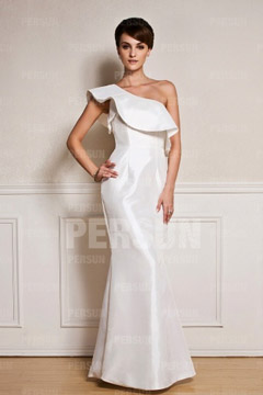 One shoulder Chic Mermaid White Formal Dress in Taffeta