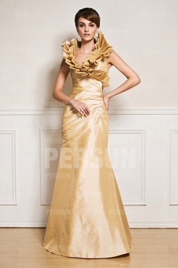 Dressesmall Unique Mermaid Yellow Tone Taffeta Floor Length Formal Dress
