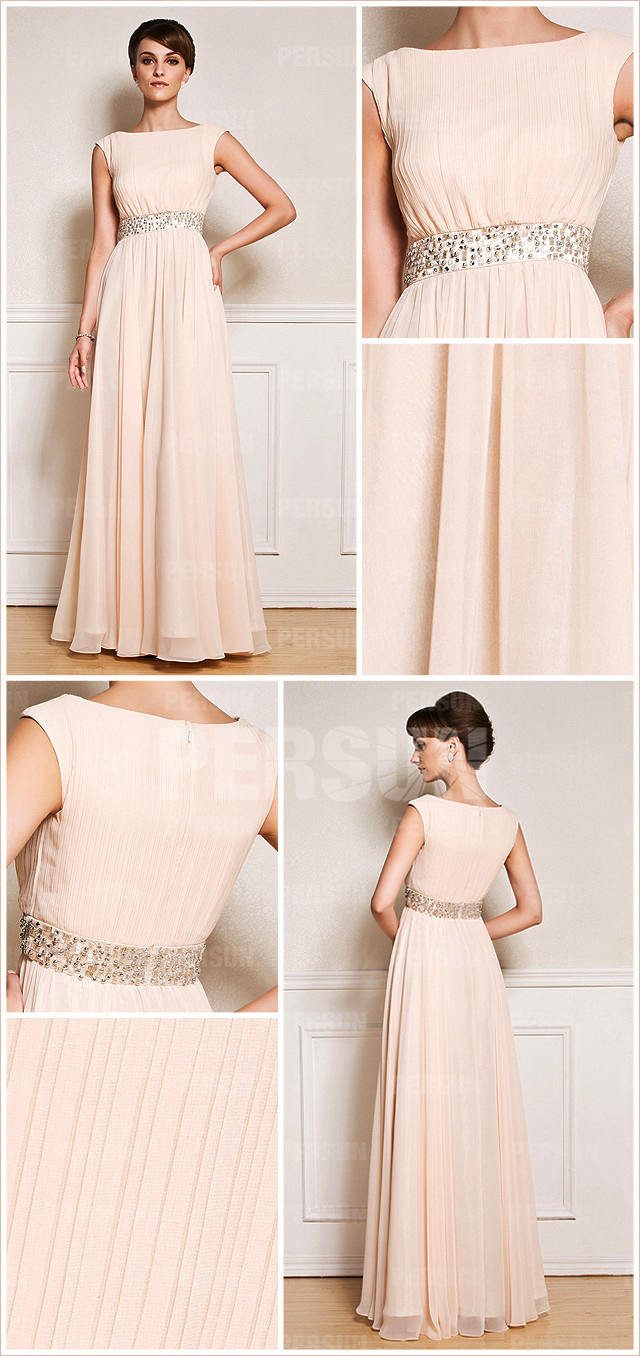 Boat Neckline Cap Sleeves Beaded Chiffon Mother of the Bride Dress front and back design details from Dressesmallau