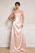 Elegantes A-Linie Rund-Ausschnitt langes rosa Abendkleider aus Satin