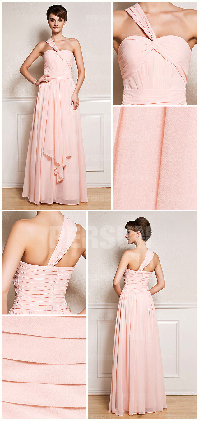 Simple Ruched One Shoulder Full length Gala Chiffon Bridesmaid Dress front and back design details from Dressesmallau