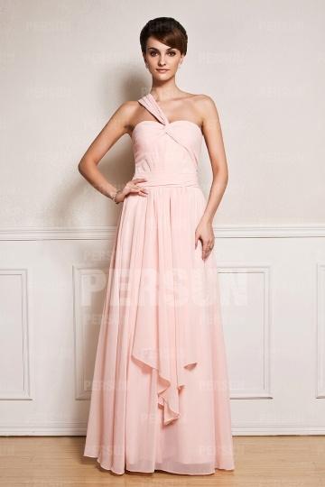 Robe rose longue asymétrique épaule asymétrique plissée