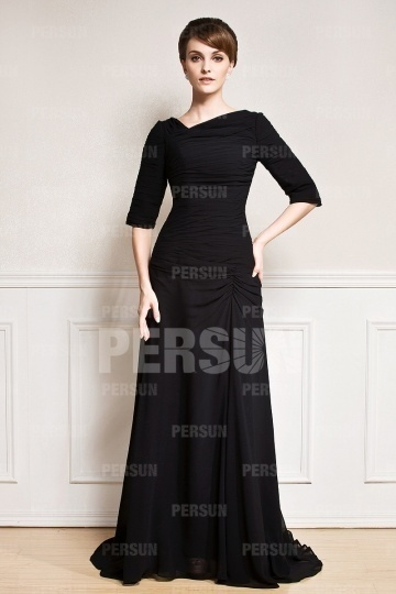 Dressesmall Simple Ruffles Sweep Train Black Chiffon Mother of the Bride Dress