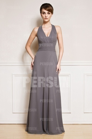 Dressesmall Sexy Halter Grey Tone Chiffon Floor Length Prom Dress