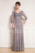 Gorgeous Beaded Three quarter length Sleeves Mother of the Bride Dress
