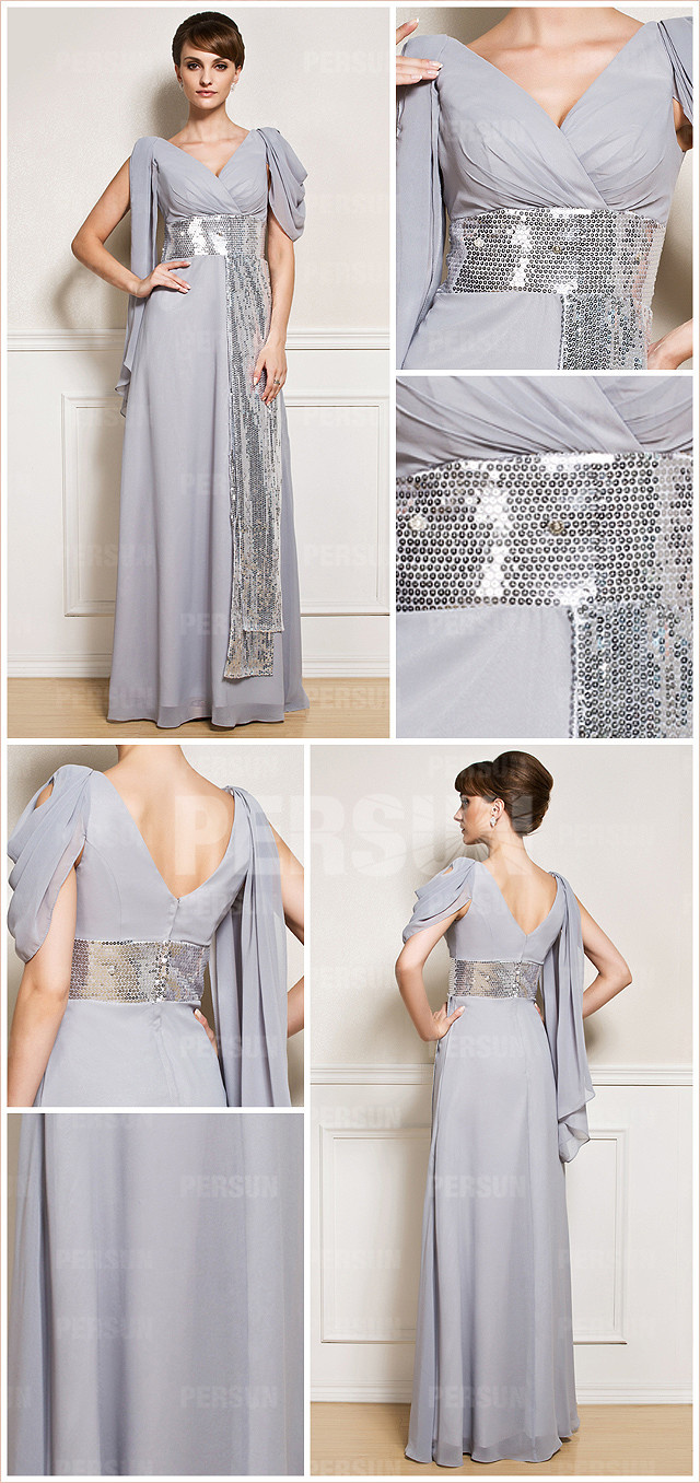 Column v neck gray chiffon long sequins mother of the bride dress with sleeves details