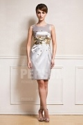 Sequin waist Gray short formal dress