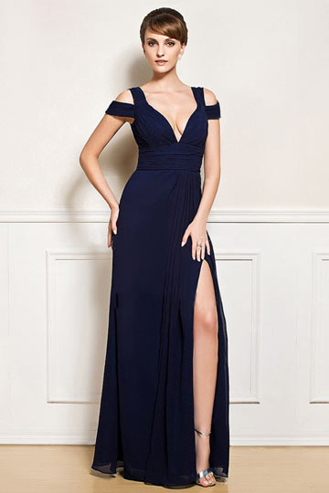 Dressesmall Sexy Split front Low V Backless Chiffon Evening Gown