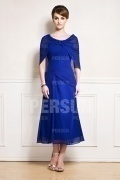 Modern Blue Strapless Chiffon Mother of the Bride Dress with Shawl