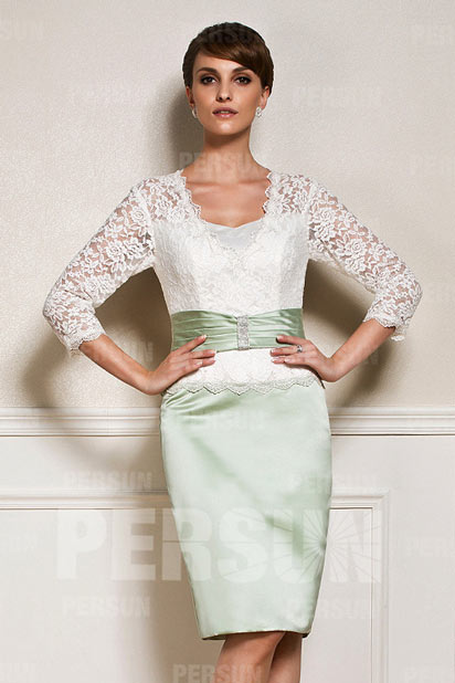 Dressesmall V neck Mother of the Bride dress with lace top and 3/4 length sleeve
