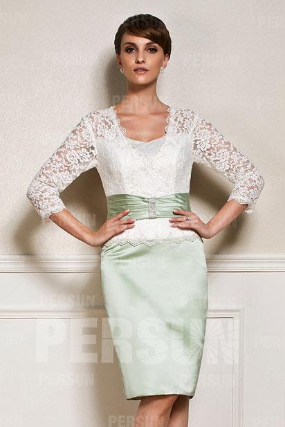 Chic Etui-Linie V-Ausschnitt Knielanges Abendkleid aus Satin mit Ärmel Persun