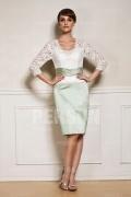 Chic Etui-Linie V-Ausschnitt Knielanges Abendkleid aus Satin mit Ärmel