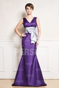Color block V neck Taffeta Mermaid Formal Bridesmaid Dress with Sash
