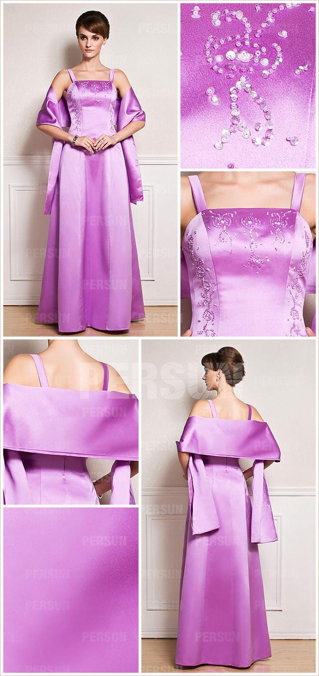 Simple purple straps a line long beading empire satin bridesmaid dress details